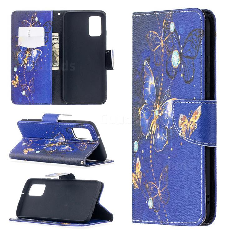 Purple Butterfly Leather Wallet Case for Samsung Galaxy A02s