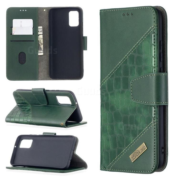 BinfenColor BF04 Color Block Stitching Crocodile Leather Case Cover for Samsung Galaxy A02s - Green