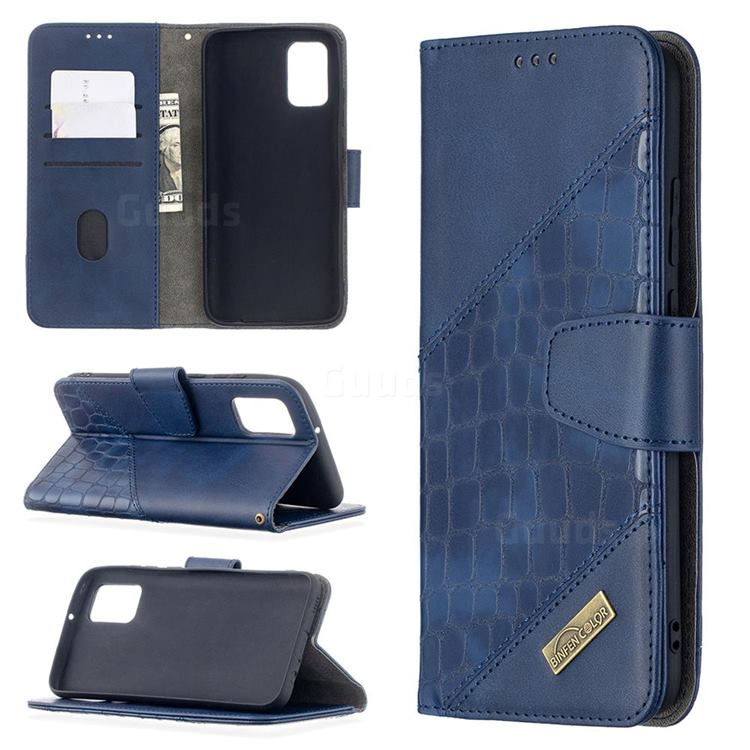 BinfenColor BF04 Color Block Stitching Crocodile Leather Case Cover for Samsung Galaxy A02s - Blue