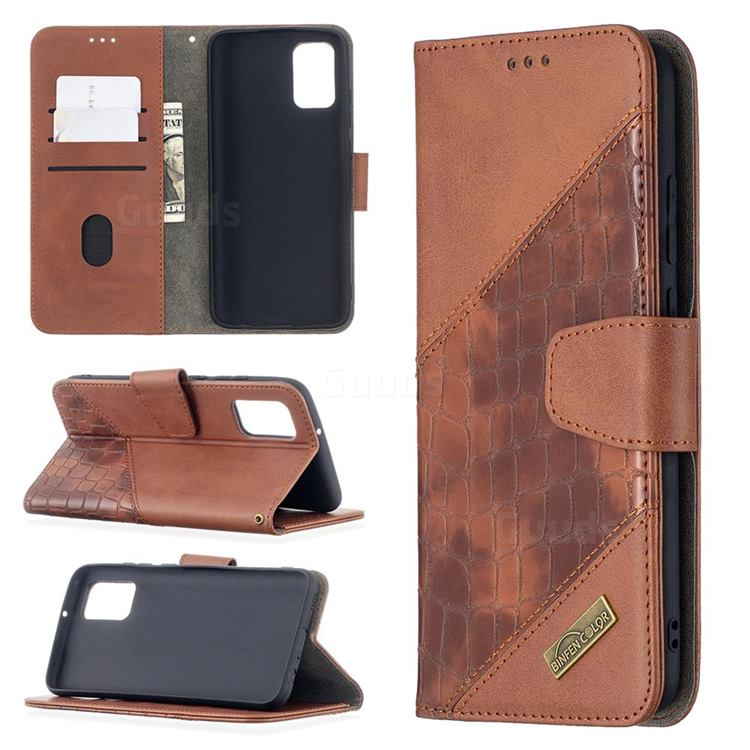 BinfenColor BF04 Color Block Stitching Crocodile Leather Case Cover for Samsung Galaxy A02s - Brown