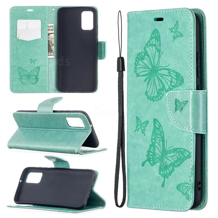 Embossing Double Butterfly Leather Wallet Case for Samsung Galaxy A02s - Green