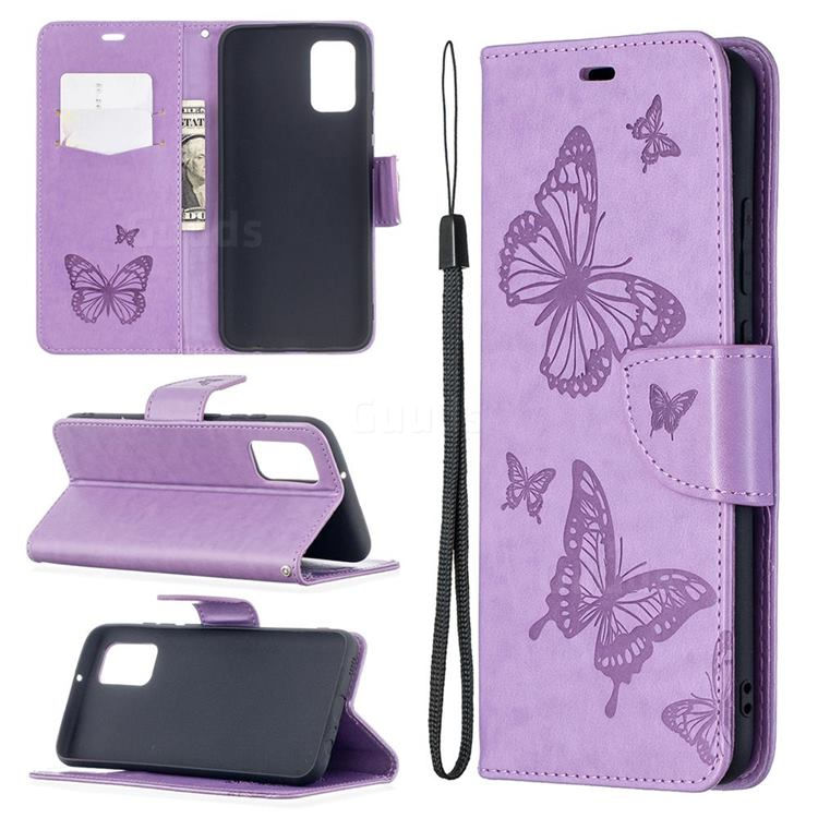 Embossing Double Butterfly Leather Wallet Case for Samsung Galaxy A02s - Purple