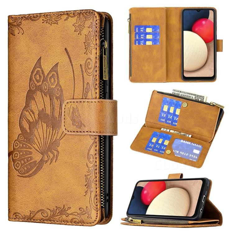 Binfen Color Imprint Vivid Butterfly Buckle Zipper Multi-function Leather Phone Wallet for Samsung Galaxy A02s - Brown