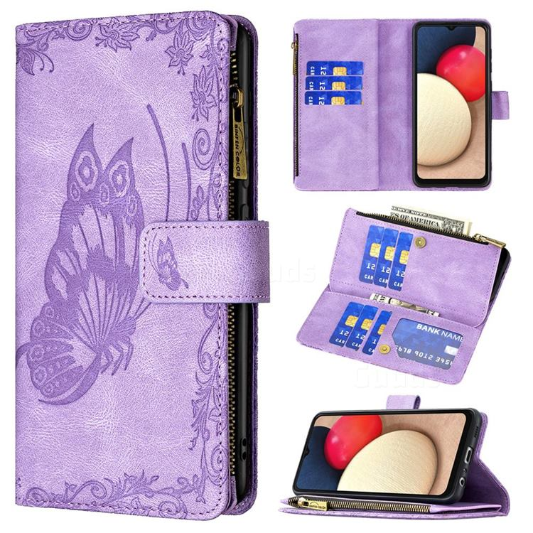 Binfen Color Imprint Vivid Butterfly Buckle Zipper Multi-function Leather Phone Wallet for Samsung Galaxy A02s - Purple