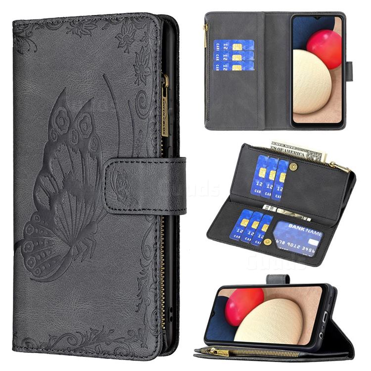 Binfen Color Imprint Vivid Butterfly Buckle Zipper Multi-function Leather Phone Wallet for Samsung Galaxy A02s - Black