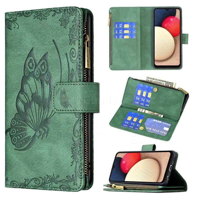 Binfen Color Imprint Vivid Butterfly Buckle Zipper Multi-function Leather Phone Wallet for Samsung Galaxy A02s - Green