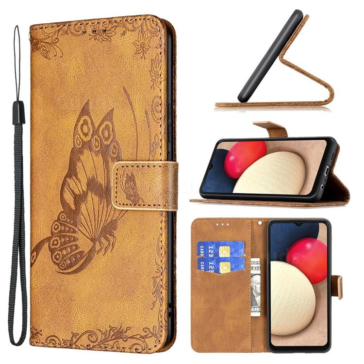 Binfen Color Imprint Vivid Butterfly Leather Wallet Case for Samsung Galaxy A02s - Brown