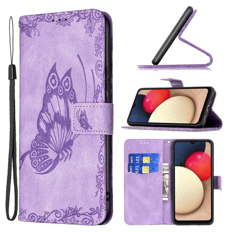 Binfen Color Imprint Vivid Butterfly Leather Wallet Case for Samsung Galaxy A02s - Purple