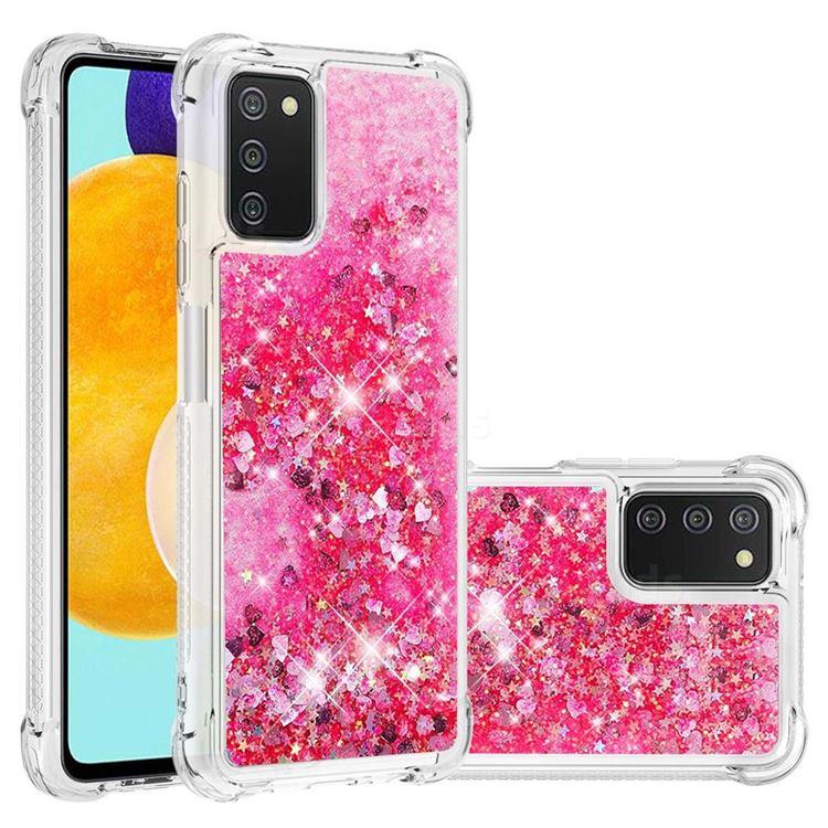 Dynamic Liquid Glitter Sand Quicksand TPU Case for Samsung Galaxy A03s - Pink Love Heart