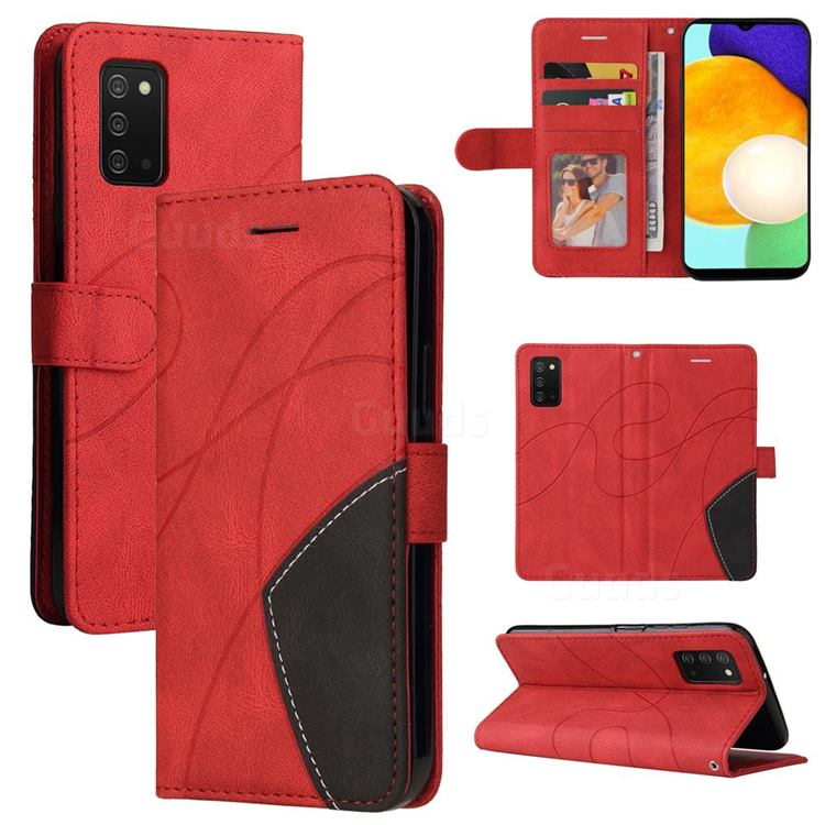 Luxury Two-color Stitching Leather Wallet Case Cover for Samsung Galaxy A03s - Red
