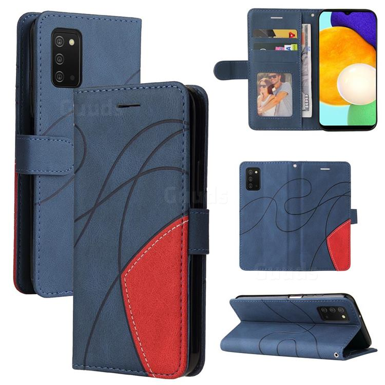 Luxury Two-color Stitching Leather Wallet Case Cover for Samsung Galaxy A03s - Blue