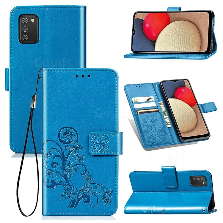 Embossing Imprint Four-Leaf Clover Leather Wallet Case for Samsung Galaxy A03s - Blue