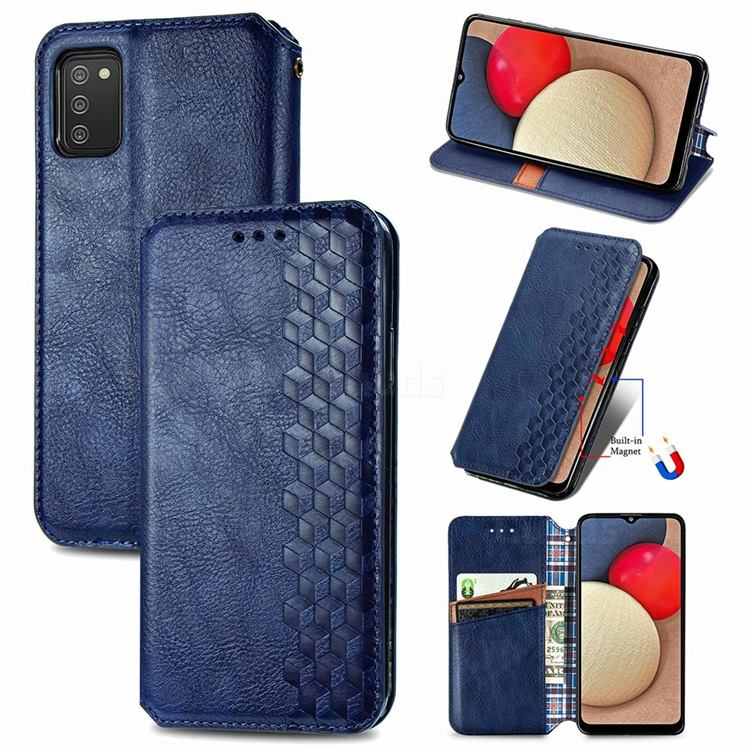 Ultra Slim Fashion Business Card Magnetic Automatic Suction Leather Flip Cover for Samsung Galaxy A03s - Dark Blue