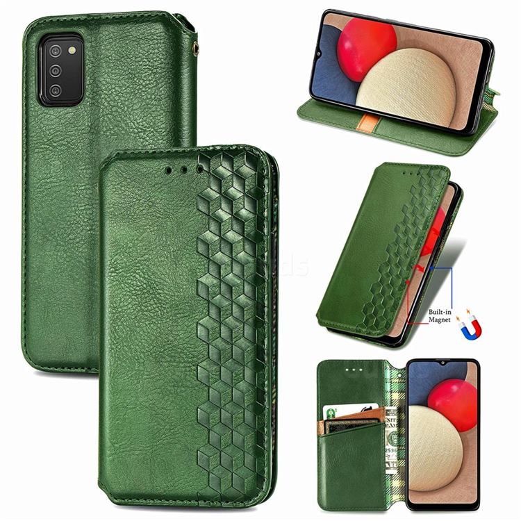Ultra Slim Fashion Business Card Magnetic Automatic Suction Leather Flip Cover for Samsung Galaxy A03s - Green