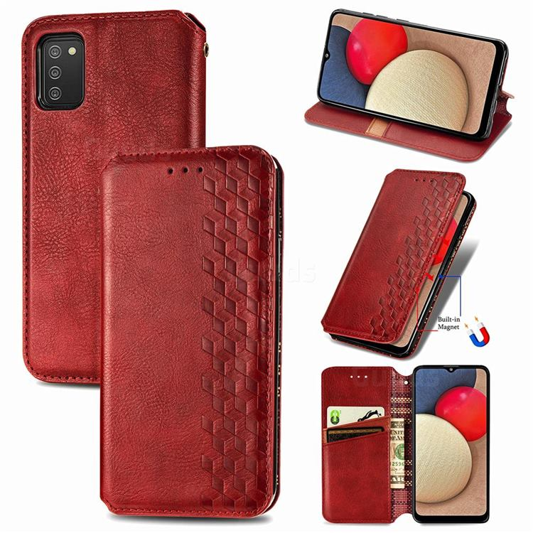Ultra Slim Fashion Business Card Magnetic Automatic Suction Leather Flip Cover for Samsung Galaxy A03s - Red