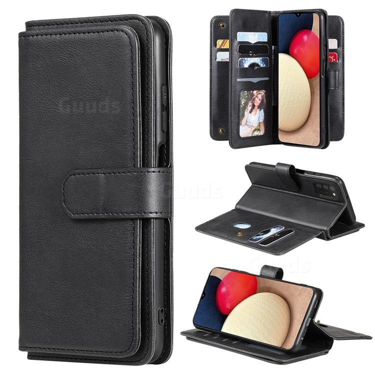 Multi-function Ten Card Slots and Photo Frame PU Leather Wallet Phone Case Cover for Samsung Galaxy A03s - Black