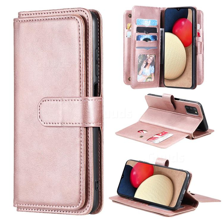Multi-function Ten Card Slots and Photo Frame PU Leather Wallet Phone Case Cover for Samsung Galaxy A03s - Rose Gold