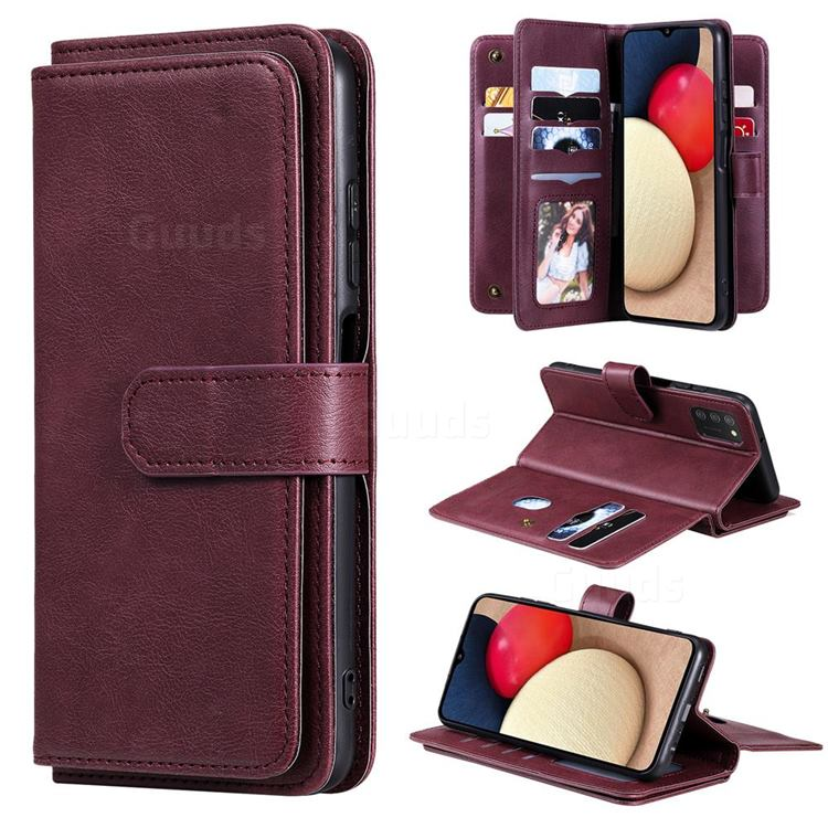 Multi-function Ten Card Slots and Photo Frame PU Leather Wallet Phone Case Cover for Samsung Galaxy A03s - Claret