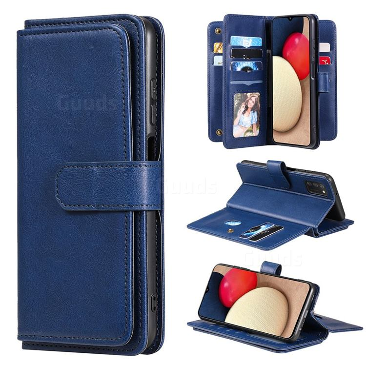 Multi-function Ten Card Slots and Photo Frame PU Leather Wallet Phone Case Cover for Samsung Galaxy A03s - Dark Blue