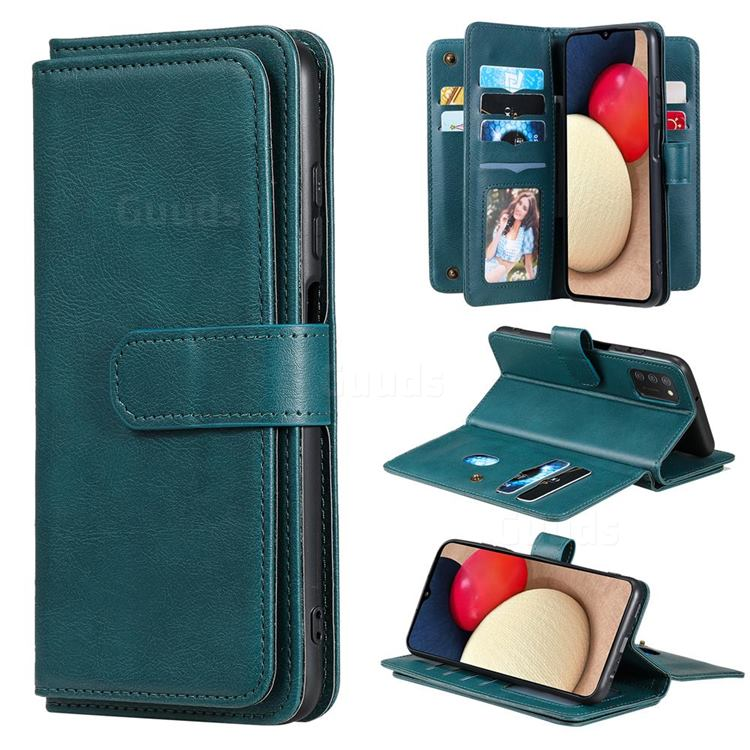 Multi-function Ten Card Slots and Photo Frame PU Leather Wallet Phone Case Cover for Samsung Galaxy A03s - Dark Green