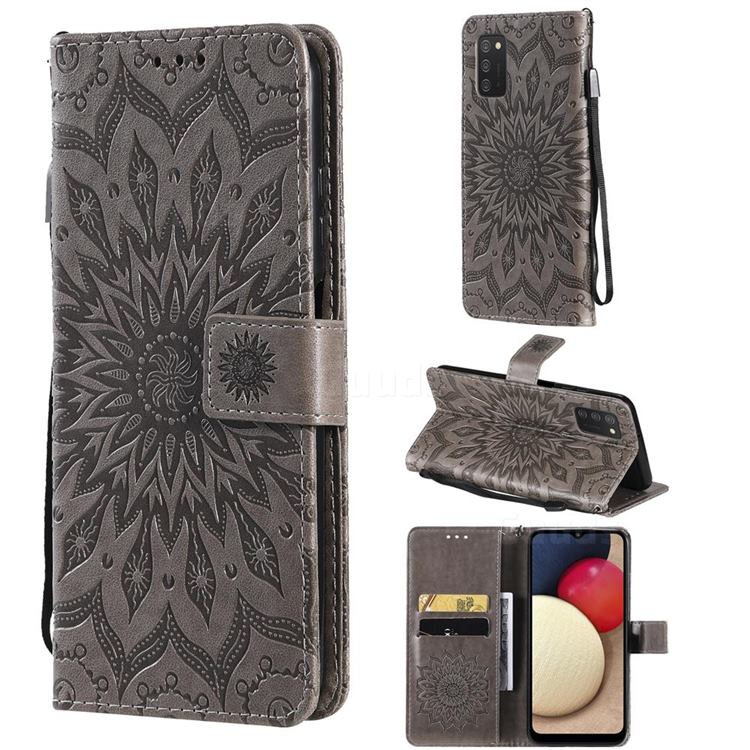 Embossing Sunflower Leather Wallet Case for Samsung Galaxy A03s - Gray