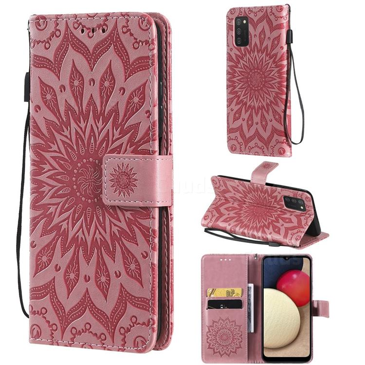 Embossing Sunflower Leather Wallet Case for Samsung Galaxy A03s - Pink
