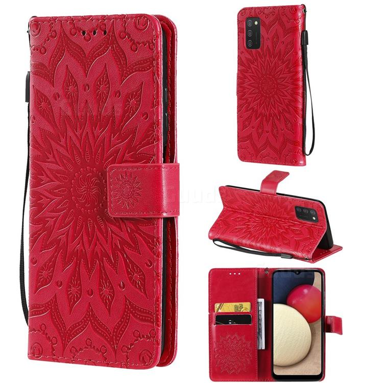 Embossing Sunflower Leather Wallet Case for Samsung Galaxy A03s - Red