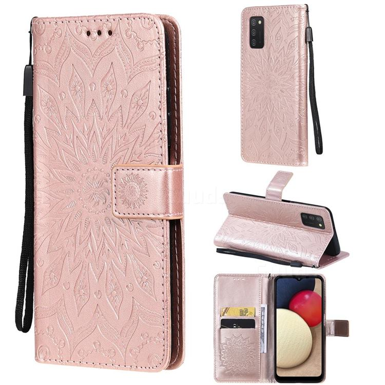 Embossing Sunflower Leather Wallet Case for Samsung Galaxy A03s - Rose Gold