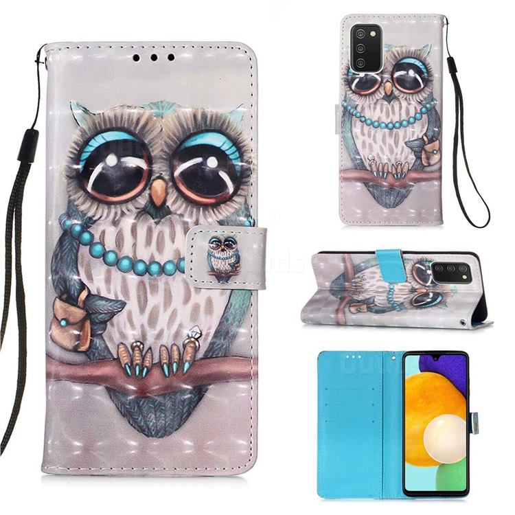 Sweet Gray Owl 3D Painted Leather Wallet Case for Samsung Galaxy A03s