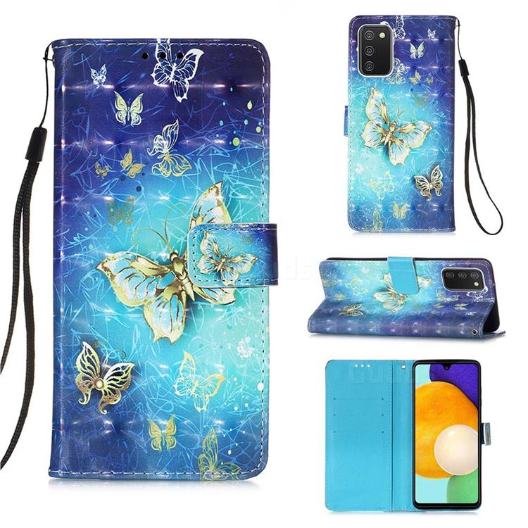 Gold Butterfly 3D Painted Leather Wallet Case for Samsung Galaxy A03s