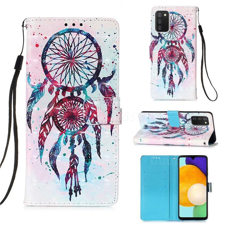 ColorDrops Wind Chimes 3D Painted Leather Wallet Case for Samsung Galaxy A03s