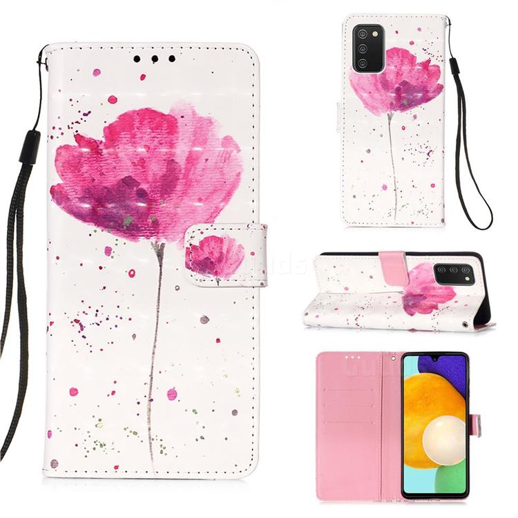 Watercolor 3D Painted Leather Wallet Case for Samsung Galaxy A03s