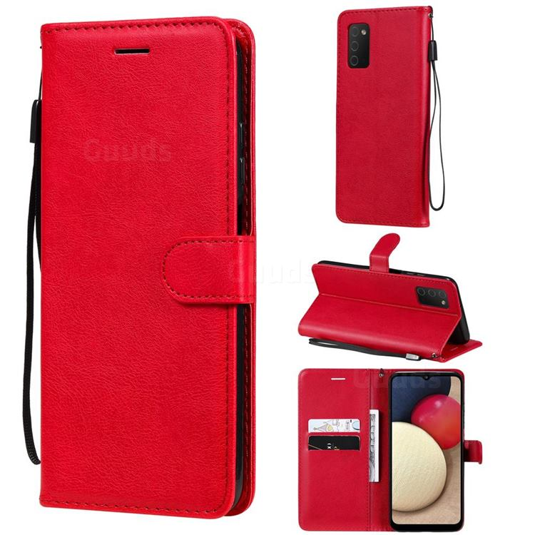 Retro Greek Classic Smooth PU Leather Wallet Phone Case for Samsung Galaxy A03s - Red