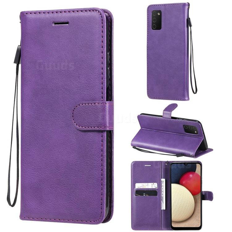 Retro Greek Classic Smooth PU Leather Wallet Phone Case for Samsung Galaxy A03s - Purple