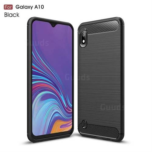 Luxury Carbon Fiber Brushed Wire Drawing Silicone TPU Back Cover for Samsung Galaxy A10 - Black