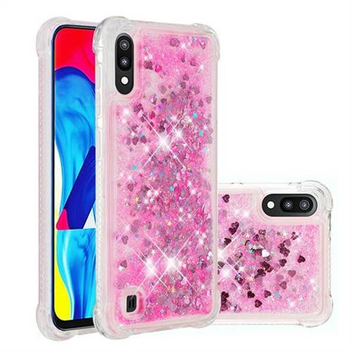 Dynamic Liquid Glitter Sand Quicksand TPU Case for Samsung Galaxy A10 - Pink Love Heart