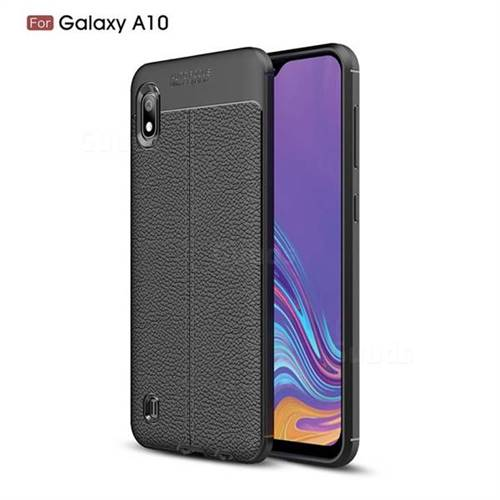 Luxury Auto Focus Litchi Texture Silicone TPU Back Cover for Samsung Galaxy A10 - Black