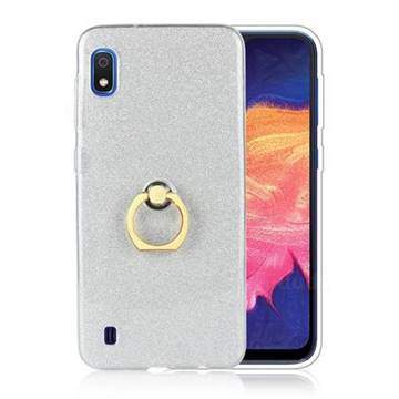 Luxury Soft TPU Glitter Back Ring Cover with 360 Rotate Finger Holder Buckle for Samsung Galaxy A10 - White