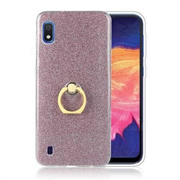 Luxury Soft TPU Glitter Back Ring Cover with 360 Rotate Finger Holder Buckle for Samsung Galaxy A10 - Pink