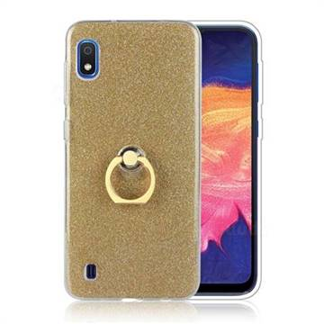 Luxury Soft TPU Glitter Back Ring Cover with 360 Rotate Finger Holder Buckle for Samsung Galaxy A10 - Golden