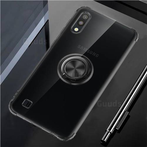 Anti-fall Invisible Press Bounce Ring Holder Phone Cover for Samsung Galaxy A10 - Elegant Black