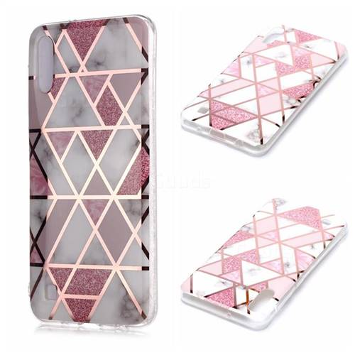 Pink Rhombus Galvanized Rose Gold Marble Phone Back Cover for Samsung Galaxy A10