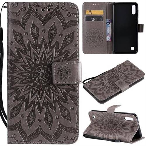 Embossing Sunflower Leather Wallet Case for Samsung Galaxy A10 - Gray