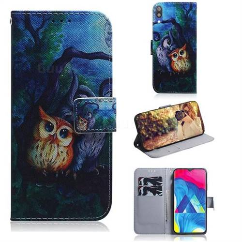 Oil Painting Owl PU Leather Wallet Case for Samsung Galaxy A10