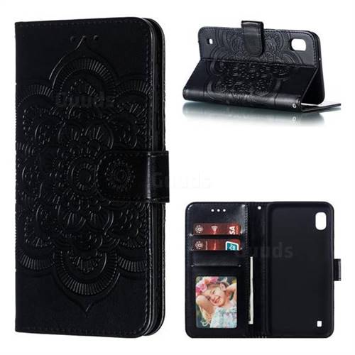 Intricate Embossing Datura Solar Leather Wallet Case for Samsung Galaxy A10 - Black