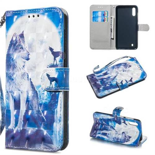 Ice Wolf 3D Painted Leather Wallet Phone Case for Samsung Galaxy A10