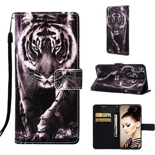 Black and White Tiger Matte Leather Wallet Phone Case for Samsung Galaxy A10