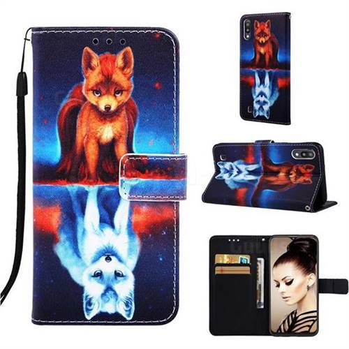 Water Fox Matte Leather Wallet Phone Case for Samsung Galaxy A10
