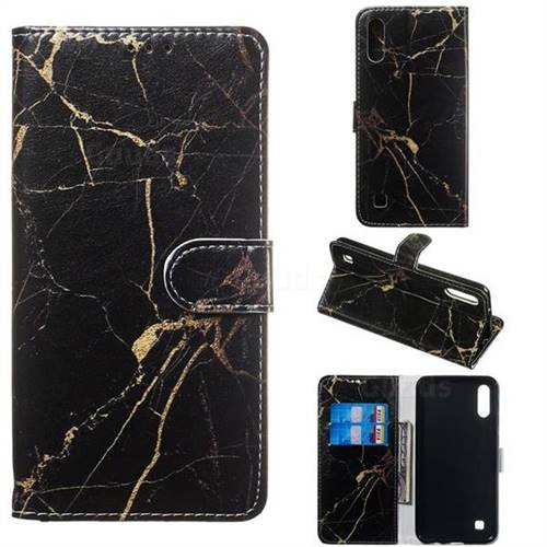 Black Gold Marble PU Leather Wallet Case for Samsung Galaxy A10