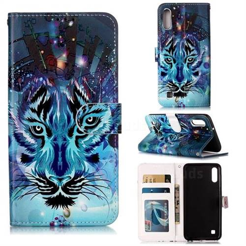 Ice Wolf 3D Relief Oil PU Leather Wallet Case for Samsung Galaxy A10